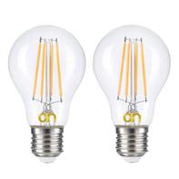 Set di 2  lampadine LED, E27, Bulbo, Trasparente, Luce calda, 8W=806LM (equiv 8 W), 360°
