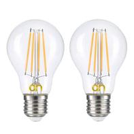 Set di 2  lampadine LED, E27, Bulbo, Trasparente, Luce naturale, 8W=806LM (equiv 8 W), 360°