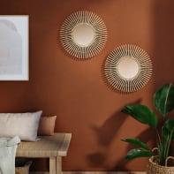Specchio a parete tondo Bamboo naturale 30x30 cm 30 cm INSPIRE