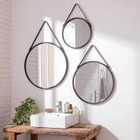 Specchio a parete tondo Barbier nero 55 cm INSPIRE