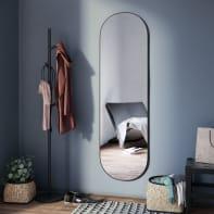 Specchio a parete ovale Oblong nero 40x140 cm INSPIRE