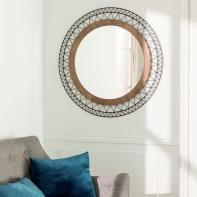 Specchio a parete tondo Manam testa di moro 80 cm INSPIRE
