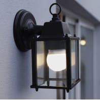 Applique Sanboi in alluminio + vetro, nero, E27 MAX60W IP43 INSPIRE