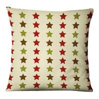Fodera per cuscino Stelle rosso, verde, marrone 45x45 cm