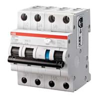 Interruttore magnetotermico differenziale ABB DS203NC C16 AC30 3 poli 16A 6kA 30mA AC 4 moduli 400V