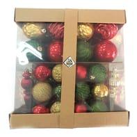 Box misto da 58 pendenti in plastica rosso, oro e verde confezione da 58 pezzi