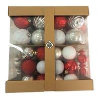 Box misto da 58 pendenti in plastica rosso, bianco, argento