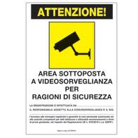 Placchetta TARGHETTA ADESIVA AREA VIDEOSORVEGLIATA polipropilene 16 x 21 cm