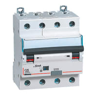 Interruttore magnetotermico differenziale BTICINO BTDIN45 4 poli 25A 4.5kA 30mA 4 moduli 380V