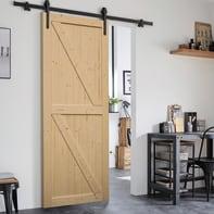 Porta scorrevole con binario esterno Stable in legno grezzo Kit Factory L 96 x H 215 cm