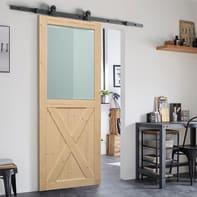Porta scorrevole con binario esterno Stable in legno grezzo Kit Indus L 86 x H 215 cm