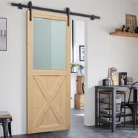 Porta scorrevole con binario esterno Stable in legno grezzo Kit Factory L 86 x H 215 cm