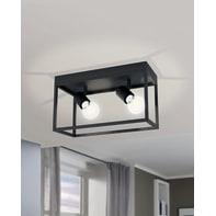 Plafoniera industriale Silentina nero, in metallo, 36x18 cm, 2  luci EGLO