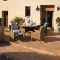 Set tavolo e sedie Bermuda in metallo marrone