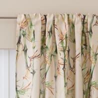 Tenda Bamboo crema con decoro fettuccia con passanti nascosti 140 x 280 cm