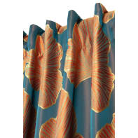 Tenda Ginko blu fettuccia con passanti nascosti 135 x 280 cm