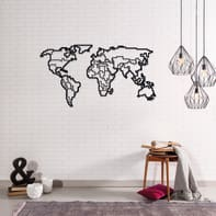Decorazione da parete World Map Metal 100x53 cm