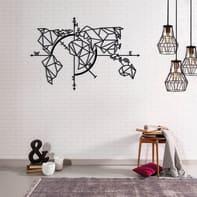 Decorazione da parete Metal Mondo Nero 110x75 cm