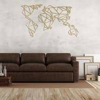 Decorazione da parete World Metal Oro 120x60 cm