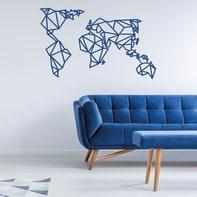 Decorazione da parete Metal Mondo Blu 120x60 cm