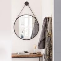 Specchio a parete tondo Barbier nero 65 cm INSPIRE