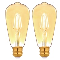 Lampadina decorativa LED filamento E27, Goccia,  diffusore Ambra, col.luce Ambrato, 3.5W=300LM (equiv 25 W), 360° , LEXMAN , set di 2 pezzi