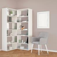 Libreria Twin L 158 x P 30 x H 179 cm bianco