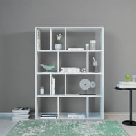 Libreria Aidan 4 ripiani L 90 x P 25 x H 122 cm bianco
