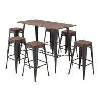 Set tavolo e sedie Soho Bambù in acciaio marrone 6 posti