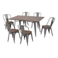 Set tavolo e sedie Soho Bambù in acciaio grigio / argento 6 posti