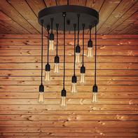 Lampadario Industriale Fallby nero in metallo, L. 40 cm, 10 luci