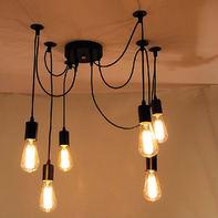 Lampadario Industriale Wire nero in metallo, L. 180 cm, 6 luci
