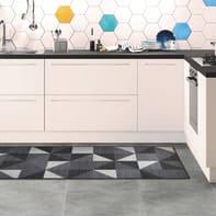 Tappeto cucina antiscivolo Star rombi grigio medio 57x230 cm