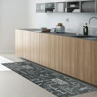Tappeto cucina antiscivolo Blackboard grigio e tortora 50x170 cm
