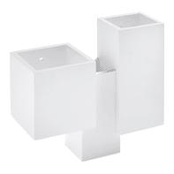 Applique design Heraea bianco, in gesso, 28.5x28.5 cm, 4 luci TECNICO