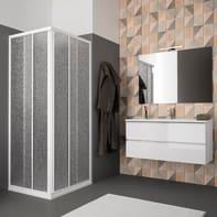 Box doccia quadrato scorrevole Opale 79 x 79 cm, H 185 cm in acrilico, spessore 1.4 mm brinato bianco