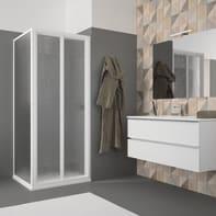 Porta doccia pieghevole Opale 80 cm, H 185 cm in acrilico, spessore 2.8 mm acrilico piumato bianco