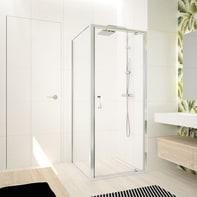 Box doccia angolare con porta a battente e lato fisso rettangolare Ocean 90 x 80 cm, H 195 cm in vetro temprato, spessore 5 mm trasparente argento