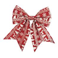 Fiocco Fiocco rosso con decoro bianco 28cm in tessuto rosso deco bianco H 28 cm, L 24 cmx P 1 cm,