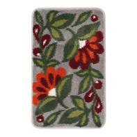 Tappeto bagno rettangolare Flowerpower in polipropilene rosso 80 x 50 cm