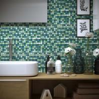 Mosaico Glitter Verde H 30 x L 30 cm verde