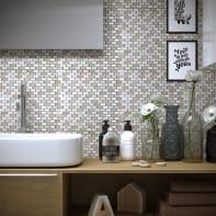 Mosaico Mini Brick Ice H 30 x L 30 cm bianco/beige