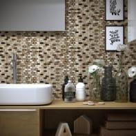 Mosaico Mini Brick Almond H 30 x L 30 cm beige/oro
