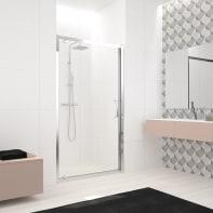 Porta doccia battente Lead 90 cm, H 200 cm in vetro temprato, spessore 8 mm trasparente cromato