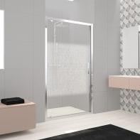 Porta doccia battente Lead 120 cm, H 200 cm in vetro temprato, spessore 8 mm serigrafato cromato