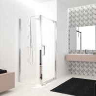 Box doccia angolare con porta a battente e lato fisso quadrato Lead 70 x 70 cm, H 200 cm in vetro temprato, spessore 8 mm trasparente cromato