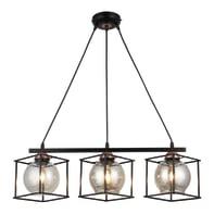 Lampadario Industriale Arne nero, rame in metallo, L. 65 cm, 3 luci