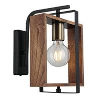 Applique industriale Karo oro, nero, legno, in metallo, 24 cm,
