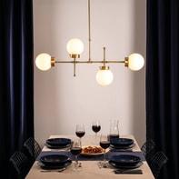 Lampadario Glamour Whisper ottone, bianco in metallo, L. 15 cm, 4 luci