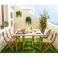 Set tavolo e sedie NATERIAL Solis in acacia marrone 4 posti